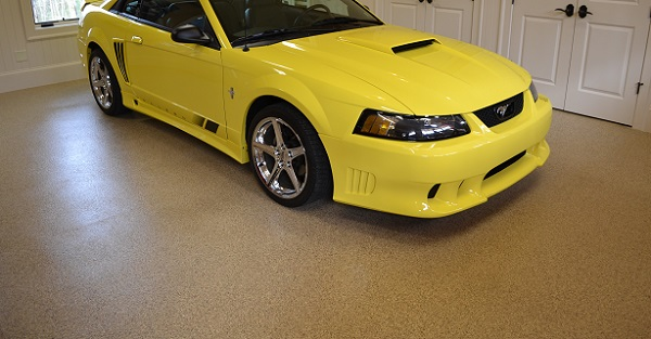 garage floor coating with a mustang car